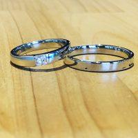 結婚指輪角ダイヤモンド入り